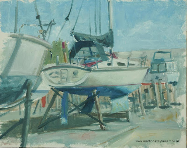 oil sketch of boat M P Davey