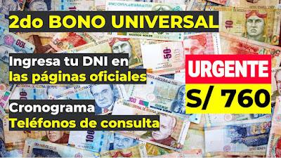 2do Bono Familiar Universal: Conoce el Link del pago que inicia el 10 de OCTUBRE de S/760