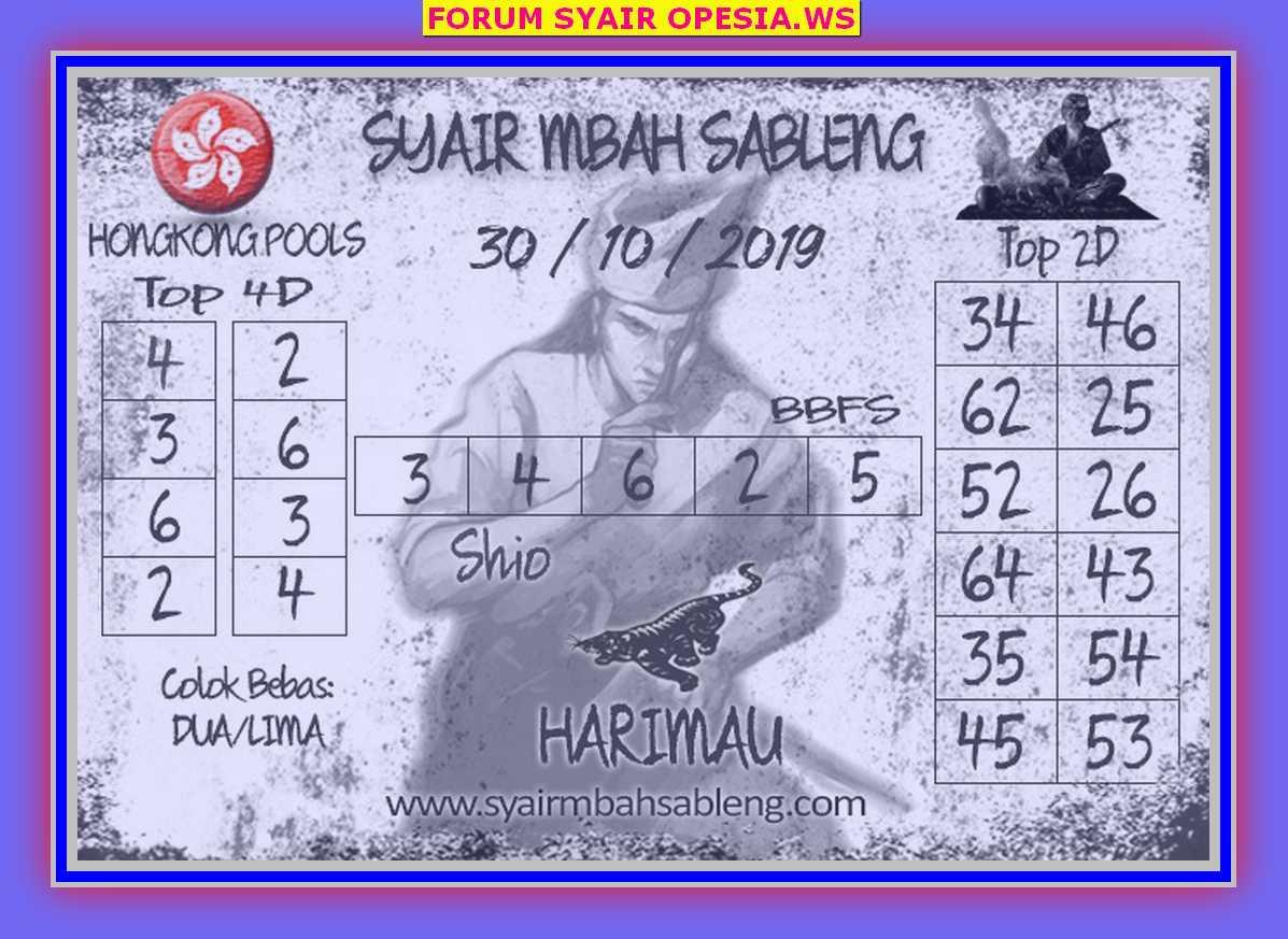 Kode syair Hongkong Rabu 30 Oktober 2019 61