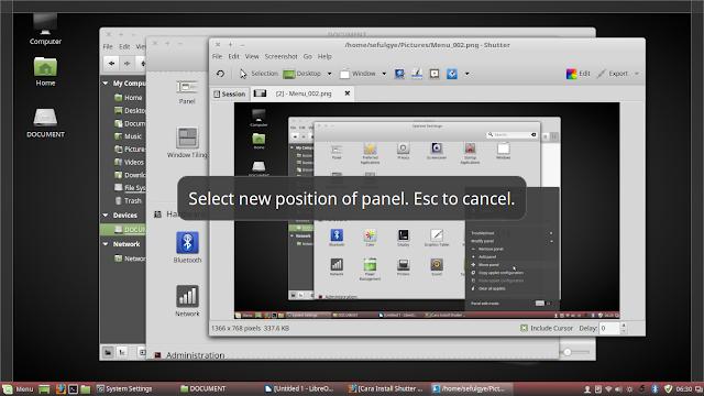 cara memindah panel linux mint, memindah panel linux mint ke kiri kanan atas bawah