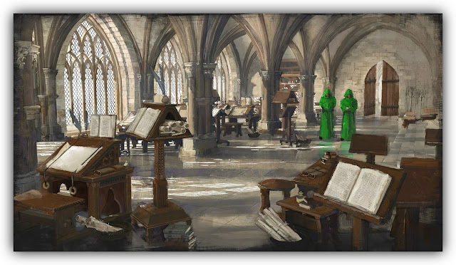 Scriptorium with Monks in Green