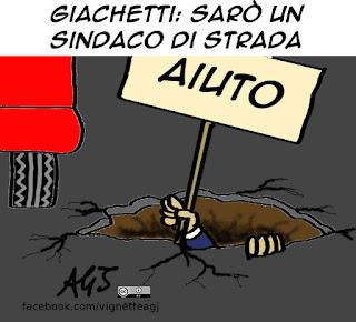giachetti, primarie PD, sindaco di strada, buche stradali, vignetta satira
