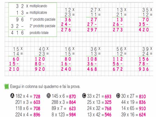 Verifiche Matematica Scuola Primaria Risorse Moltiplicazioni In