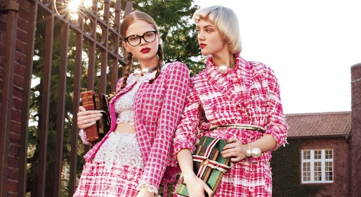 mode lesson in chanel: nathalia oliveira and april tiplady by tak sugita for spur april 2014