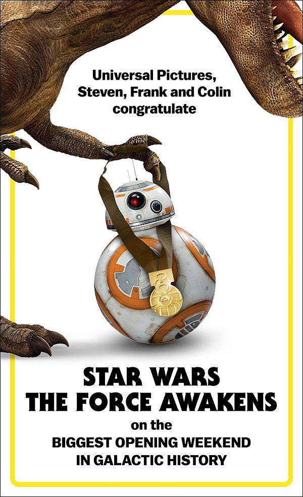 Jurassic World congratulates Star Wars.