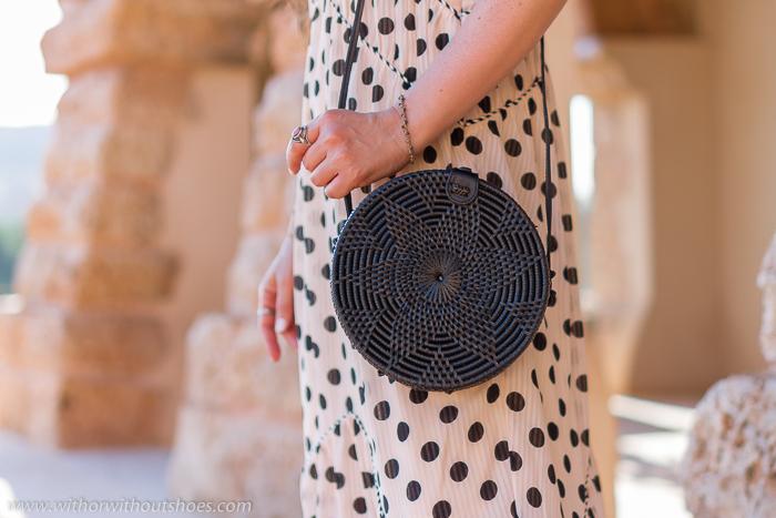 Bolso de ratán negro Rattan Bag Black Sling tamaño mediano Medium de amerii