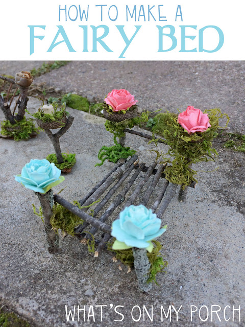 Fairy bed made from twigs and moss