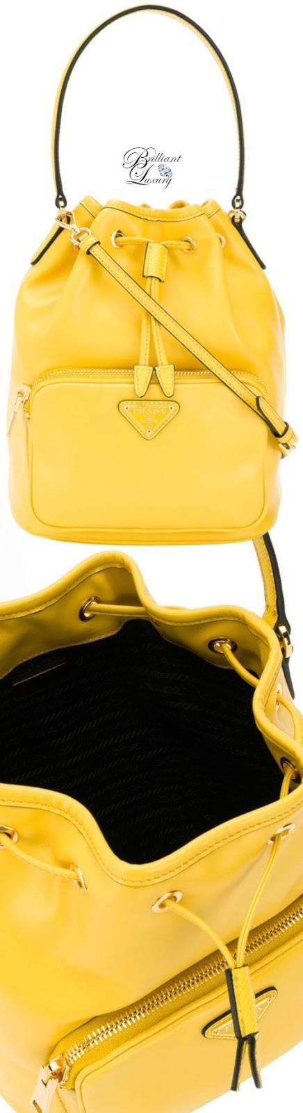 Brilliant Luxury♦Prada logo plaque bucket bag in yellow