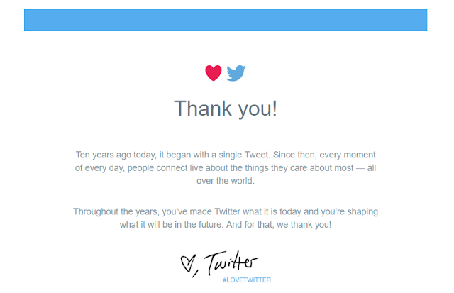 It's Twitter's 10th Birthday, Sends Thanking Emails To Users