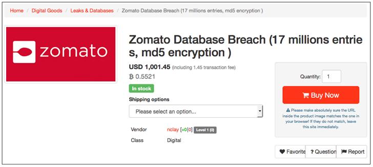 17 Million Zomato Accounts Sold on Dark Web