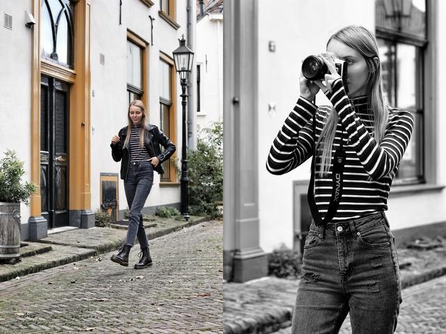 Herfst outfit 1460 vintage red Dr. Martens boots Omoda mode blogger zwart leren jasje bikerjack zwarte spijkerbroek mom jeans maalderink media fotografie