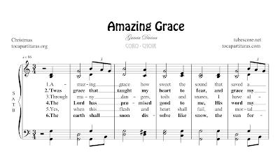 Amazing Grace (Sublime gracia) Partitura de CORO SATB a 4 voces Letra en inglés
