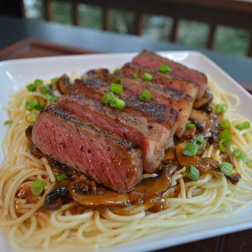 Portobello Marsala Strip Steaks from the Big Green Egg kamado grill