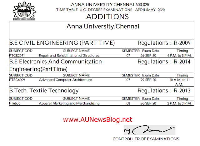 Anna University MCQ Final Sem Time Table New Additions