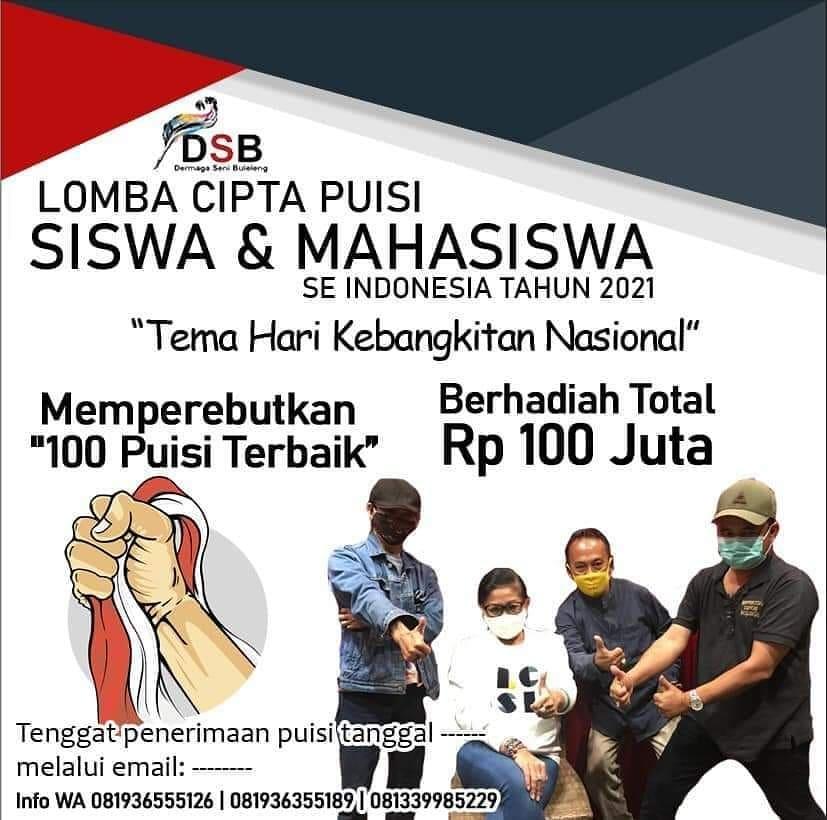 Lomba Menulis Puisi Khusus untuk Siswa dan Mahasiswa se-Indonesia Berhadiah Total 100 Juta Rupiah