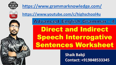 Direct and Indirect Speech Interrogative Sentences Worksheet