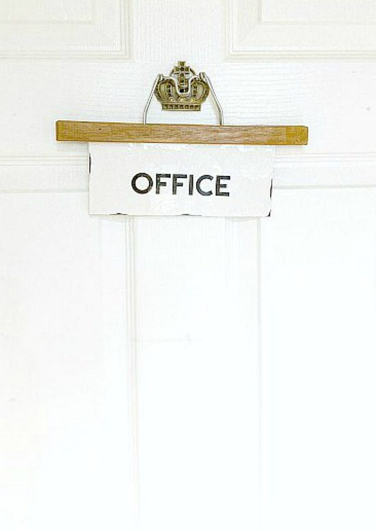 Make an Easy DIY Vintage Hanger Office Sign