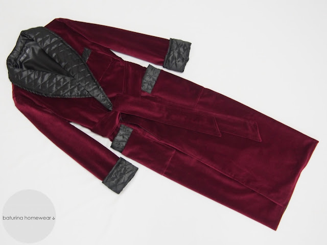 Men's velvet dressing gown in dark red and black gentleman's long warm robe with quilted silk collar