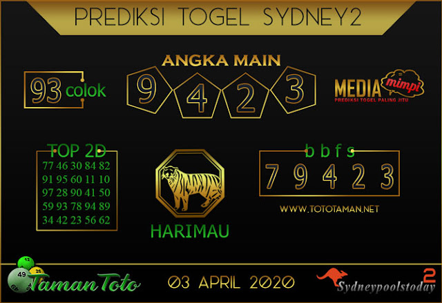 Prediksi Togel SYDNEY 2 TAMAN TOTO 03 APRIL 2020