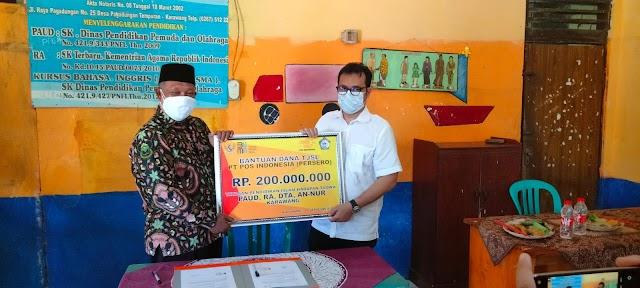 Peduli Pendidikan, Pos Indonesia Serahkan Bantuan CSR Untuk Yayasan Pendidikan Islam An-Nur Karawang