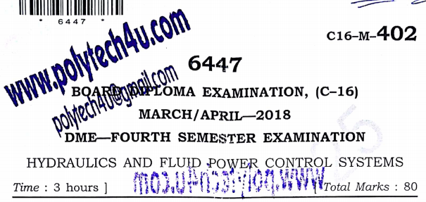 SBTET AP HYDRAULIC AND FLUID POWER CONTROL SYSTEMS OLD QUESTION PAPER