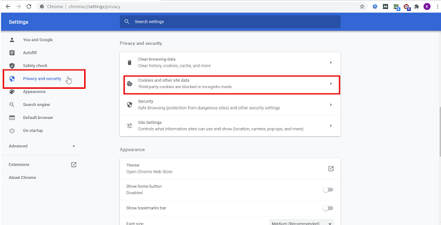 """Google chrome - """"Privacy and security"""""""