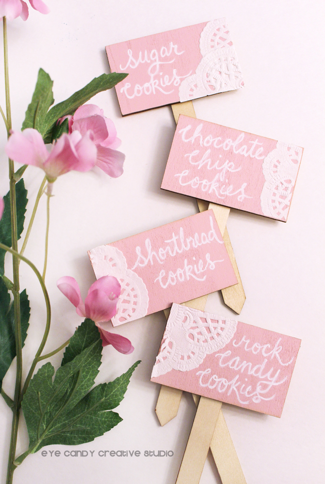 hand lettered signs used for cookies, cookie bar, quince, calligraphy