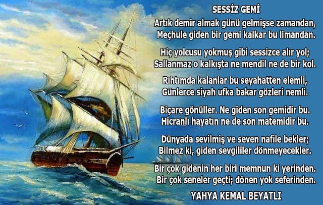 sessiz gemi, deniz, yağlı boya gemi, martı, şiir,