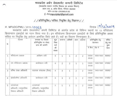 MPUDC Recruitment 2019-20 Application Form Download – Previous Question Papers