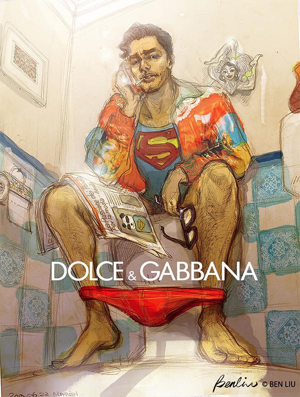 David Gandy as Superman in Dolce & Gabbana fashion illustration