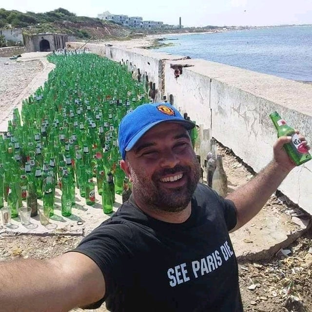 My friend collected 3000 glass bottles in one day. #Trashtag