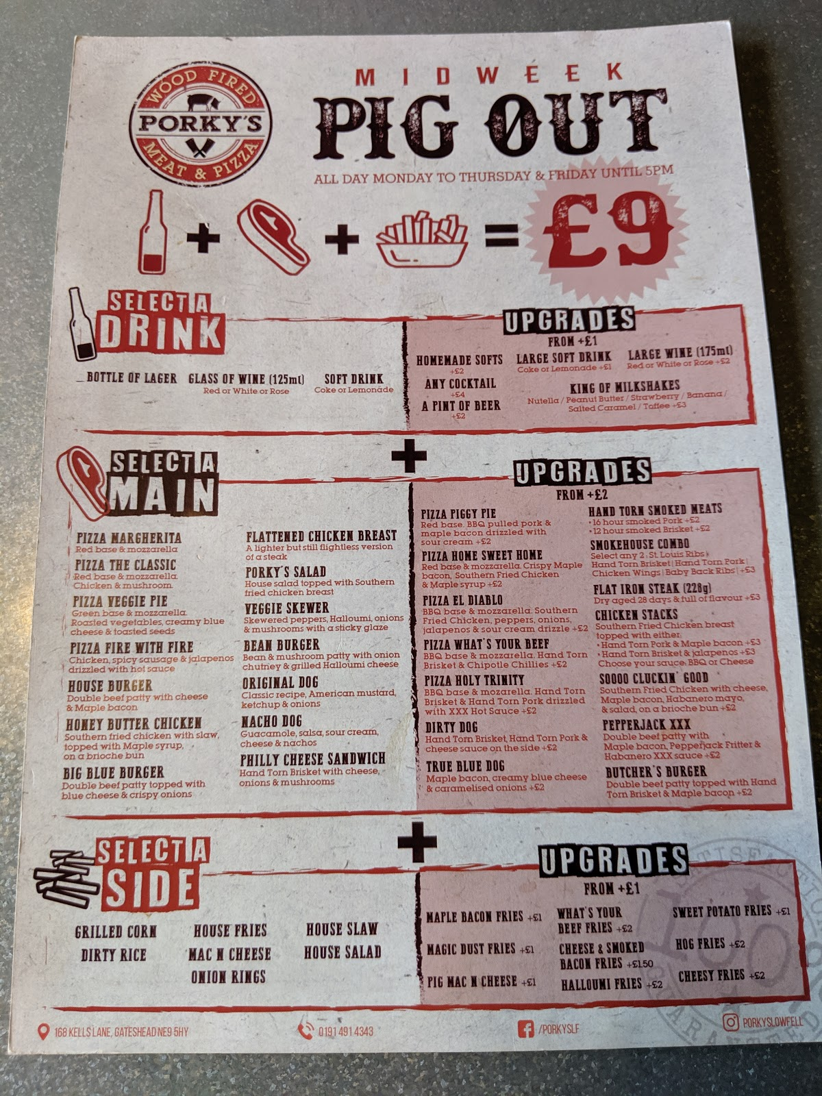 Kids Eat Free at Porky's - A Review  - pig out midweek deal menu