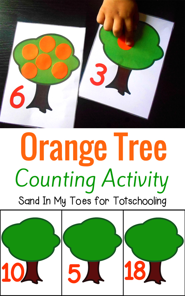 Free printable counting activity for toddlers and preschoolers featuring orange trees and numbers 1 through 20.