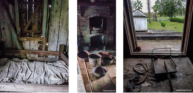 O interior de um barraco que servia de moradia aos escravos da Laura Plantation, na Luisiana