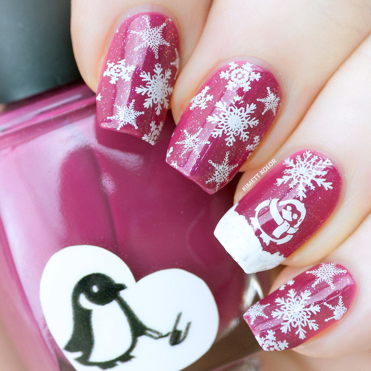 Kimett Kolor Pink Snowflake Penguin Stamping Nail Art