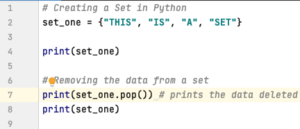 Remove data from a set using pop method