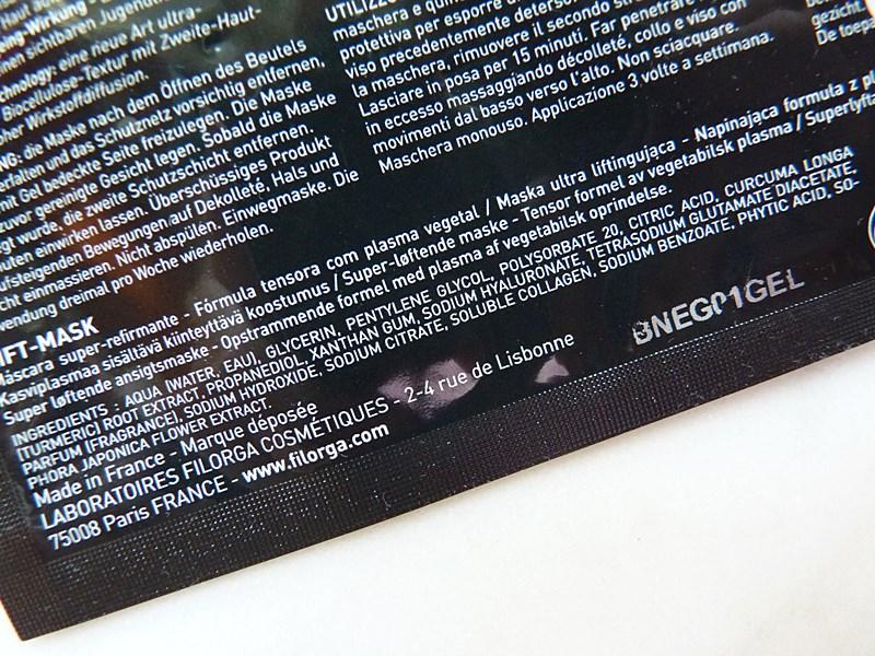 Filorga Lift Mask liftingująca maseczka w płachcie inci ingredients
