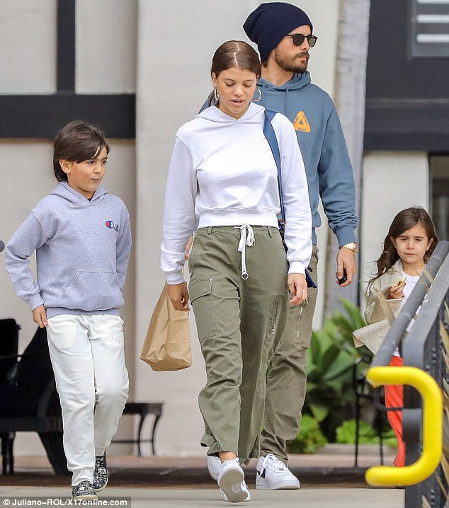Sofia Richie joins boyfriend Scott Disick for an outing with his children.