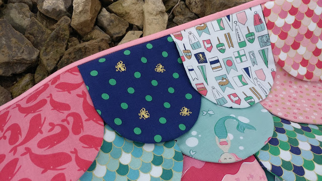 Hydra quilt - mermaid scales quilt pattern using Ahoy! Mermaids fabric from Riley Blake