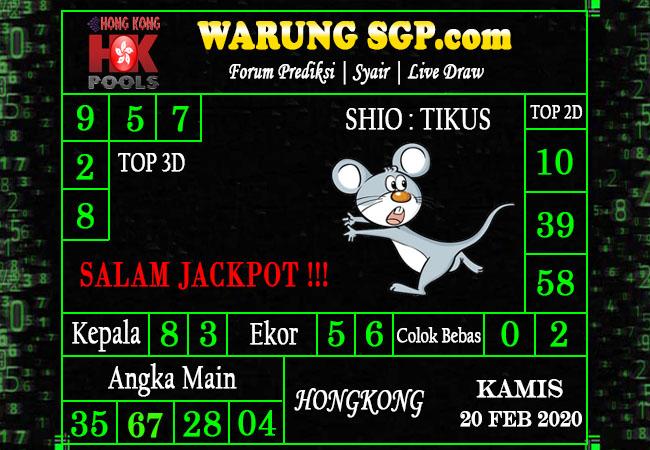 Prediksi Togel JP Hongkong 20 Februari 2020 - Prediksi Warung SGP