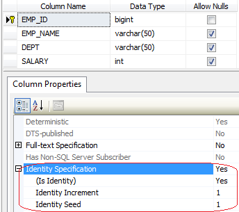 identity value in sql