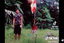 Viral! Bendera Merah Putih Dibakar Dengan Santai Oleh Seorang Pria