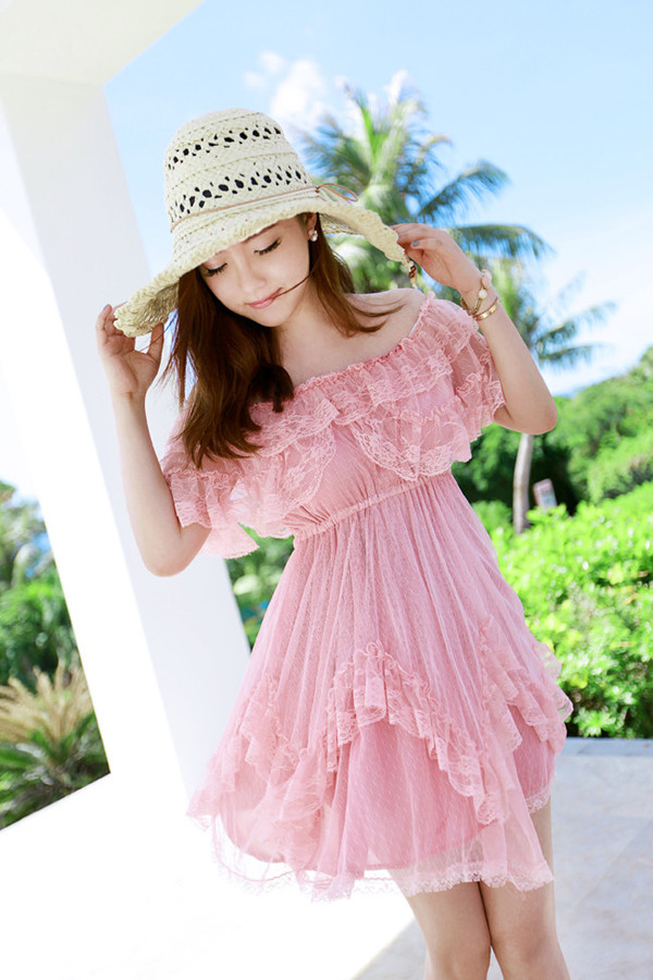 Pink lace summer dress curious