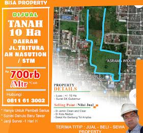Tanah luas 10Ha di kota medan daerah tritura ah nasution stm  <del>Rp 1,2 Jt/Mtr </del> <price>Rp. 700rb/meter ( Nego)</price> <code>tanah10haditritura</code>
