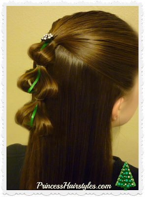 3D Christmas Tree Hair Tutorial. Easy Video! #Christmas #Christmastreehair