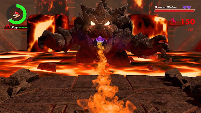 Mario Tennis Aces Bowser Statue boss fight fire breath burn hit