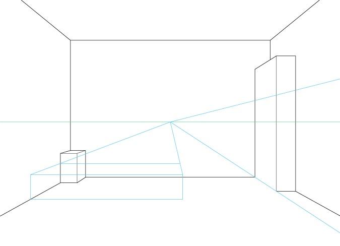 Perspektif satu titik menggambar furnitur