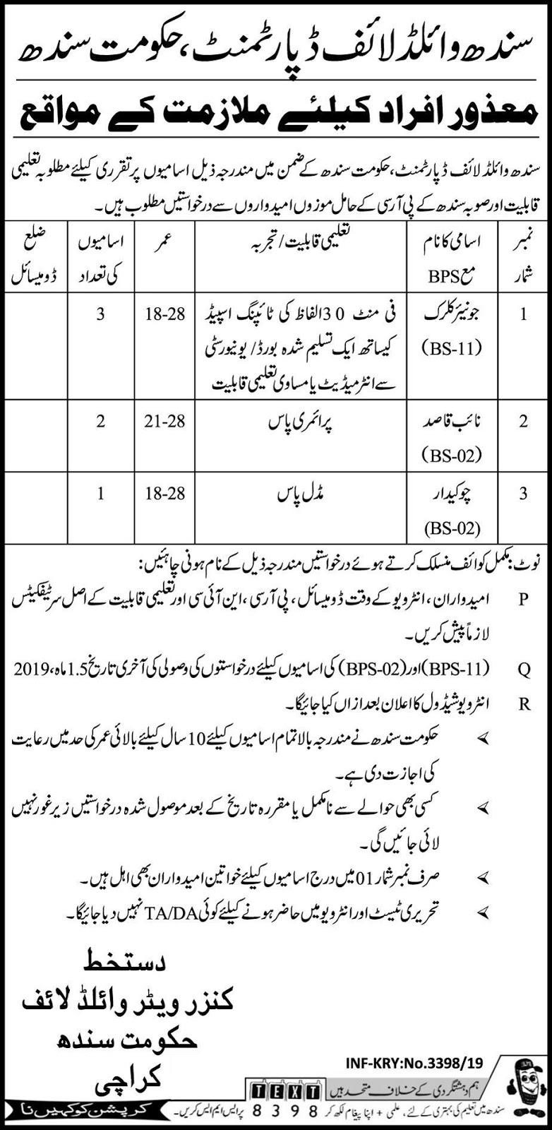 Disabled Quota Jobs in Sindh Wildlife Department Karachi 28 June 2019