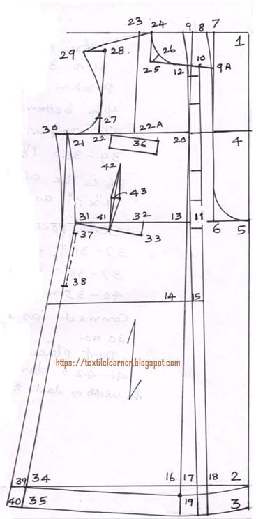 Front part drafting chart of Sherwani