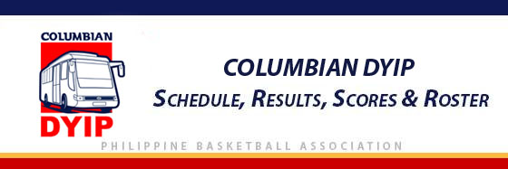PBA: Columbian Dyip Schedule, Results, Scores, Roster